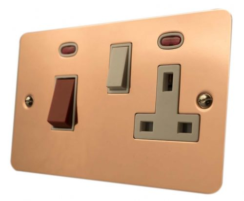 G&H FBC29W Flat Plate Bright Copper 45 Amp DP Cooker Switch & 13A Switched Socket